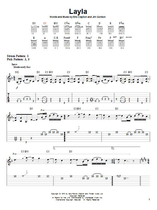 Tablature guitare Layla de Derek And The Dominos - Tablature guitare facile