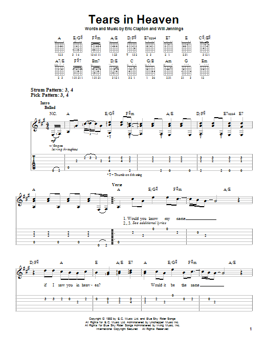 Tears In Heaven sheet music for guitar solo (easy tablature) by Will Jennings