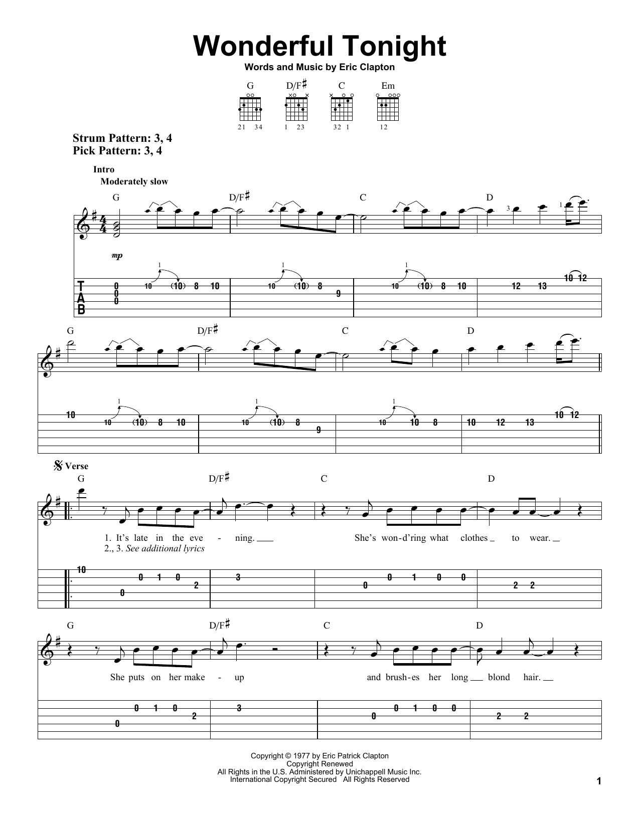 Wonderful Tonight sheet music by Eric Clapton (Easy Guitar Tab u2013 30070)