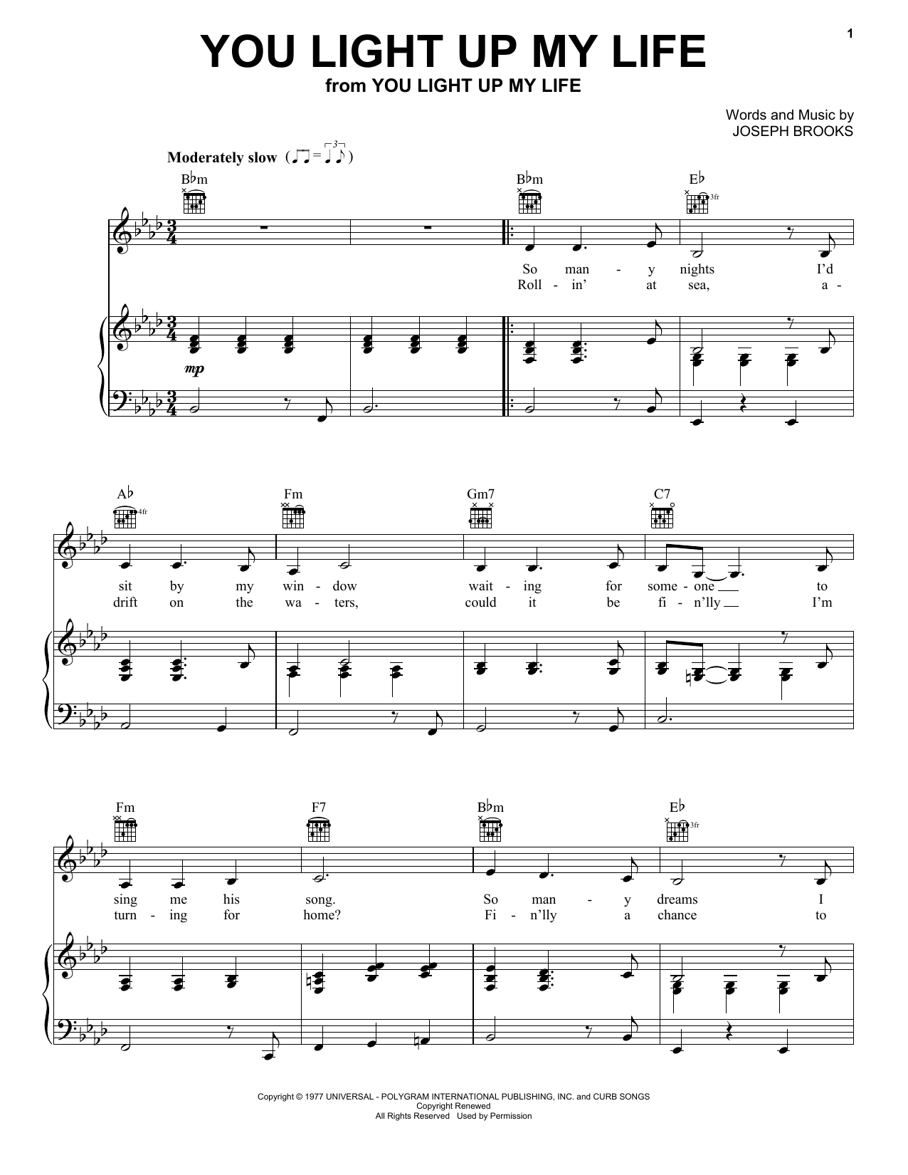 You Light Up My Life sheet music for voice, piano or guitar by Joseph Brooks