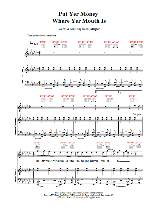 Put Yer Money Where Yer Mouth Is sheet music for voice, piano or guitar by Noel Gallagher