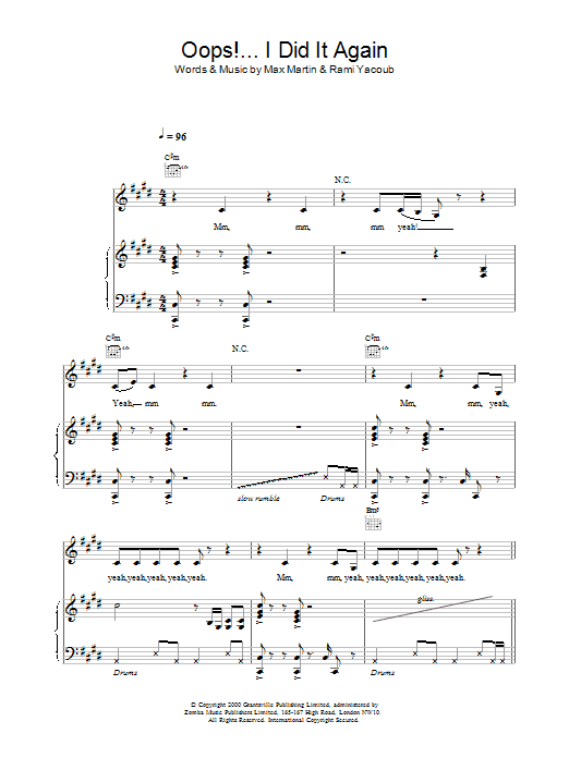 Oops! I Did It Again sheet music for voice, piano or guitar by Rami