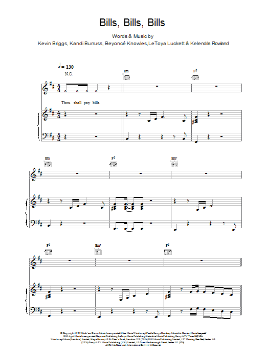 Bills, Bills, Bills sheet music for voice, piano or guitar by Beyonce Knowles