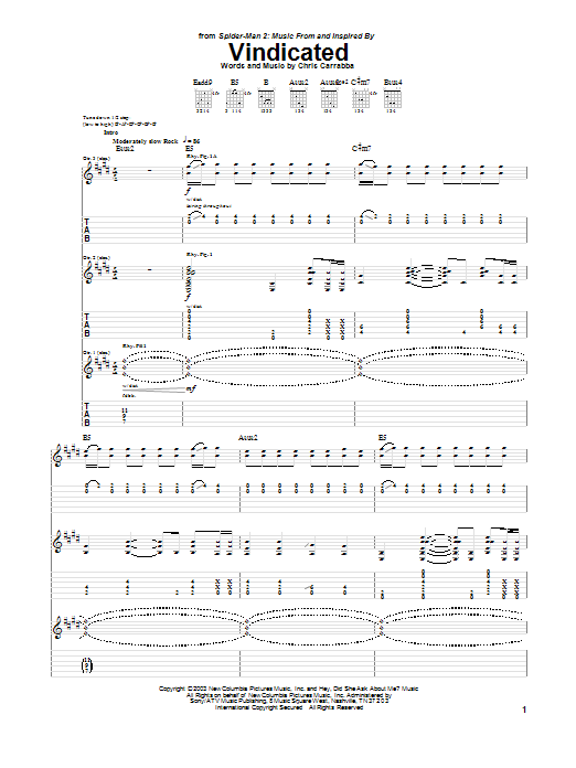 Tablature guitare Vindicated de Dashboard Confessional - Tablature Guitare