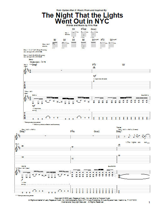 Tablature guitare The Night That The Lights Went Out In NYC (from Spider-Man 2) de The Ataris - Tablature Guitare