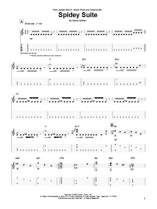 Tablature guitare Spidey Suite (from Spiderman 2) de Danny Elfman - Tablature Guitare