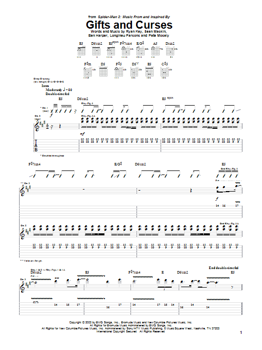 Tablature guitare Gifts And Curses (from Spider-Man 2) de Yellowcard - Tablature Guitare