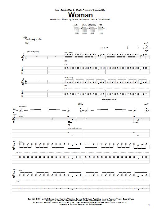 Tablature guitare Woman de Maroon 5 - Tablature Guitare