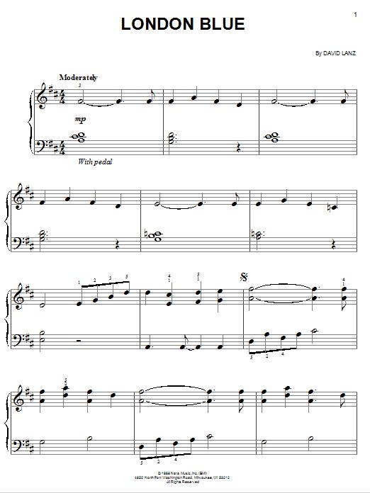 Partition piano London Blue de David Lanz - Piano Facile