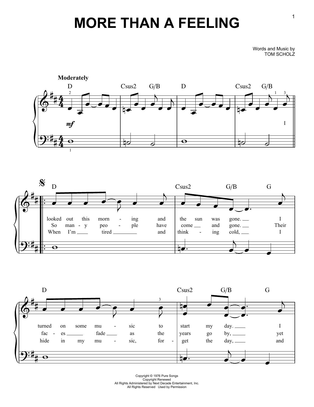 Partition piano More Than A Feeling de Boston - Piano Facile