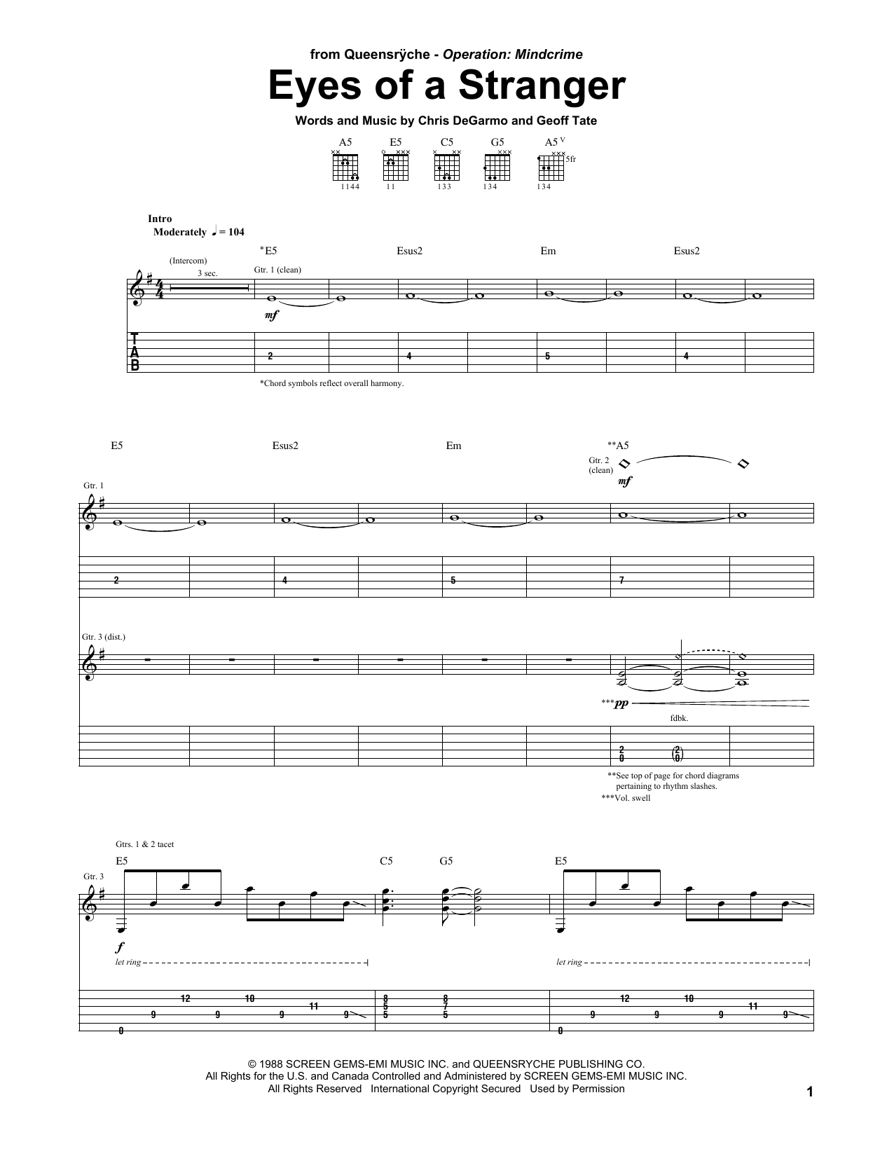 Tablature guitare Eyes Of A Stranger de Queensryche - Tablature Guitare