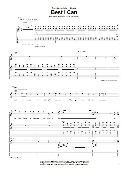Tablature guitare Best I Can de Queensryche - Tablature Guitare