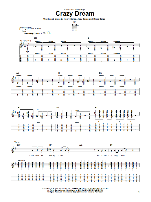 Tablature guitare Crazy Dream de Los Lonely Boys - Tablature Guitare