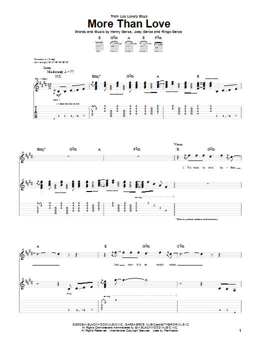 Tablature guitare More Than Love de Los Lonely Boys - Tablature Guitare