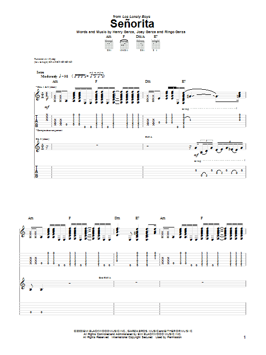 Senorita sheet music for guitar solo (tablature) by Ringo Garza