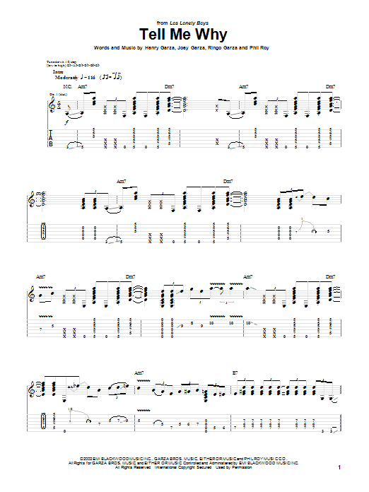 Tablature guitare Tell Me Why de Los Lonely Boys - Tablature Guitare