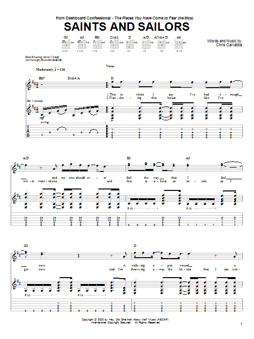Tablature guitare Saints And Sailors de Dashboard Confessional - Tablature Guitare