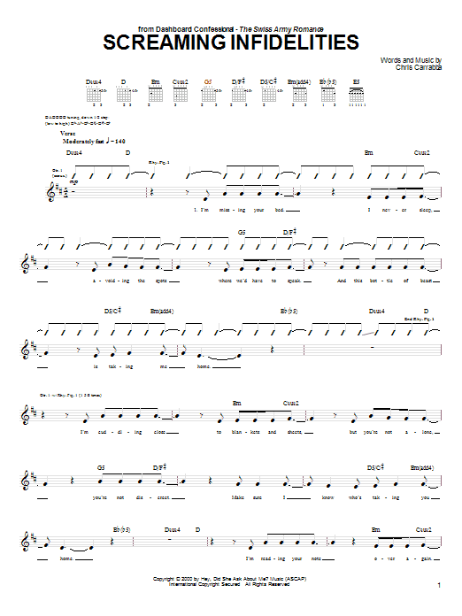 Tablature guitare Screaming Infidelities de Dashboard Confessional - Tablature Guitare