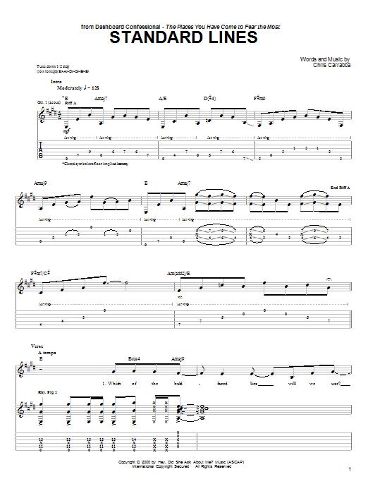 Tablature guitare Standard Lines de Dashboard Confessional - Tablature Guitare