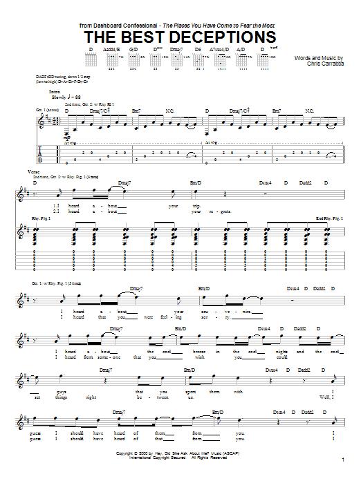 Tablature guitare The Best Deceptions de Dashboard Confessional - Tablature Guitare