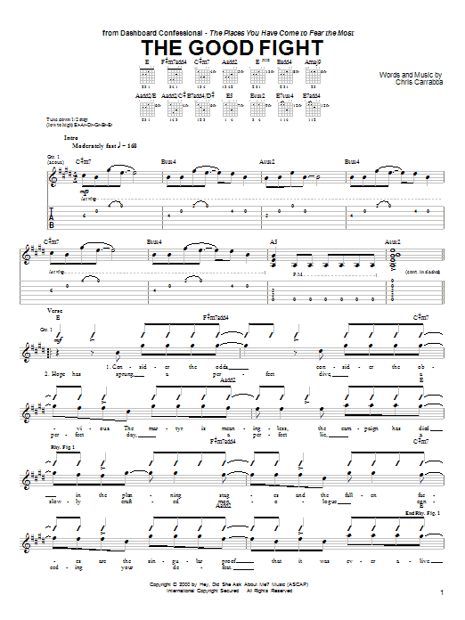 Tablature guitare The Good Fight de Dashboard Confessional - Tablature Guitare