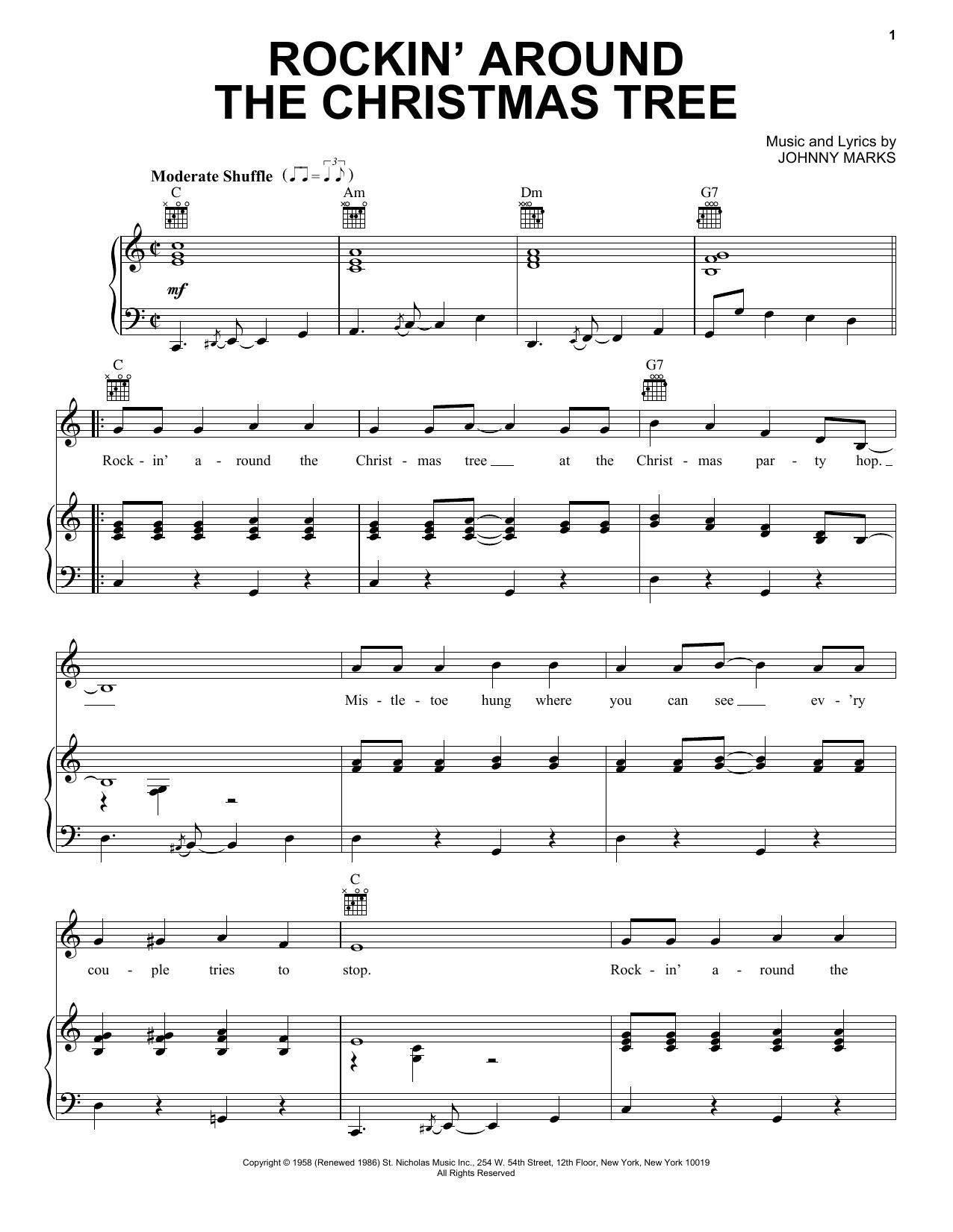 Rockin Around The Christmas Tree Piano Notes