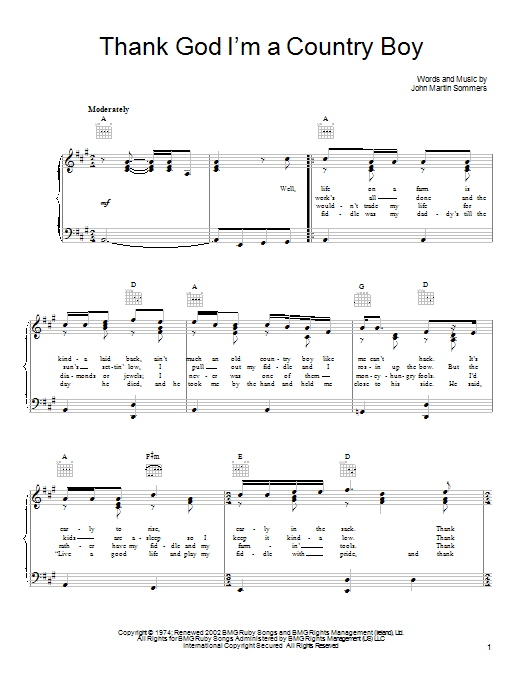 Thank God I'm A Country Boy sheet music for voice, piano or guitar by John Martin Sommers