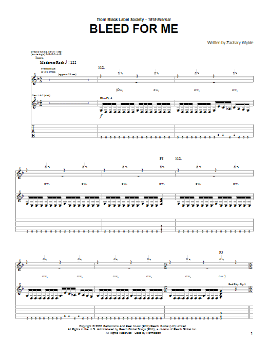 Bleed For Me sheet music for guitar solo (tablature) by Zachary P. Wylde