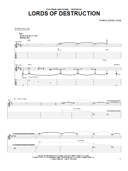 Tablature guitare Lords Of Destruction de Black Label Society - Tablature Guitare
