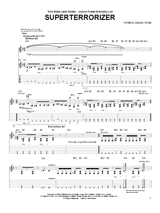 Tablature guitare Superterrorizer de Black Label Society - Tablature Guitare
