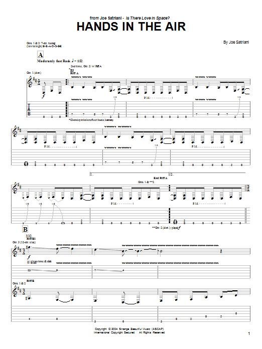Tablature guitare Hands In The Air de Joe Satriani - Tablature Guitare