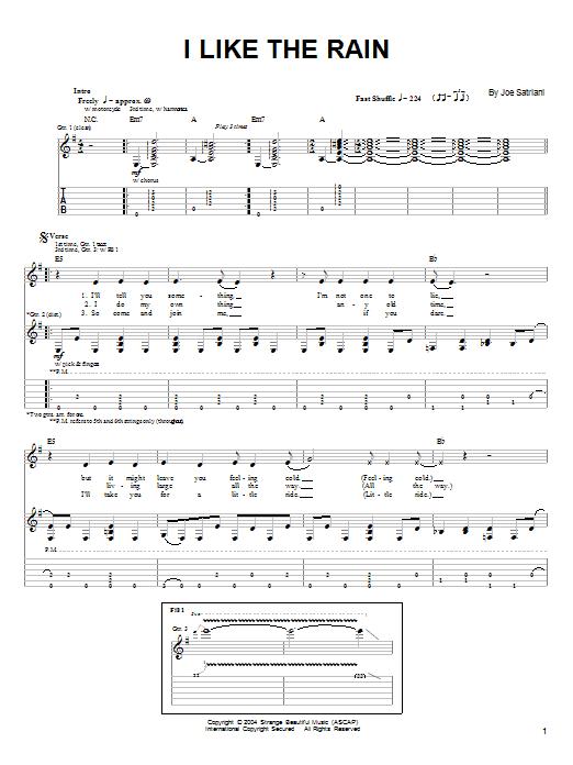 Tablature guitare I Like The Rain de Joe Satriani - Tablature Guitare