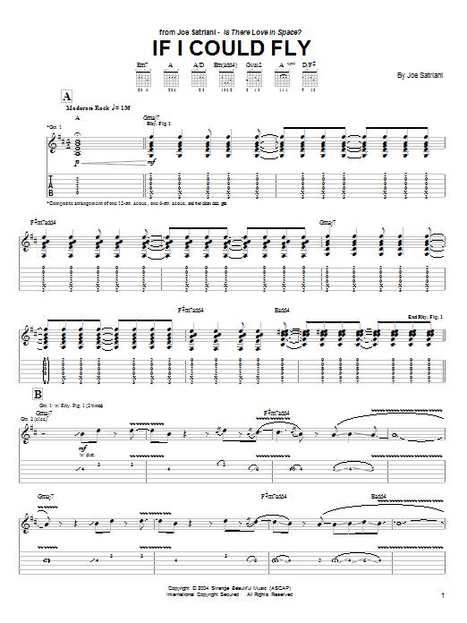 Tablature guitare If I Could Fly de Joe Satriani - Tablature Guitare