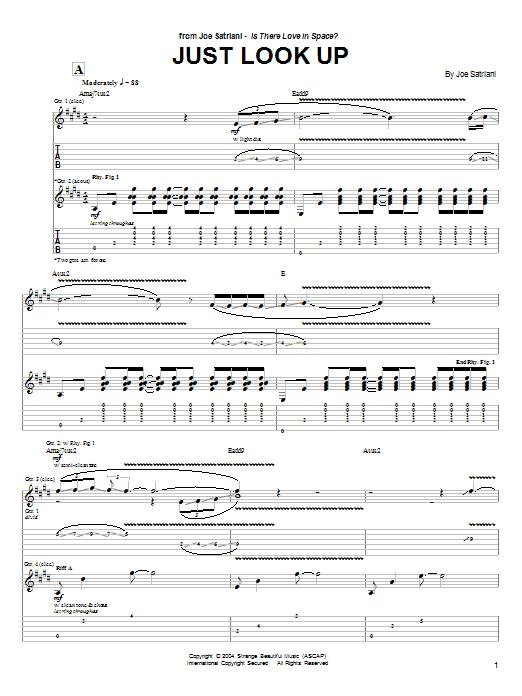 Tablature guitare Just Look Up de Joe Satriani - Tablature Guitare