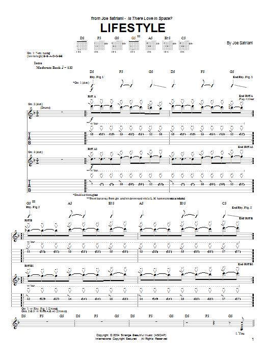 Tablature guitare Lifestyle de Joe Satriani - Tablature Guitare