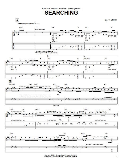 Tablature guitare Searching de Joe Satriani - Tablature Guitare
