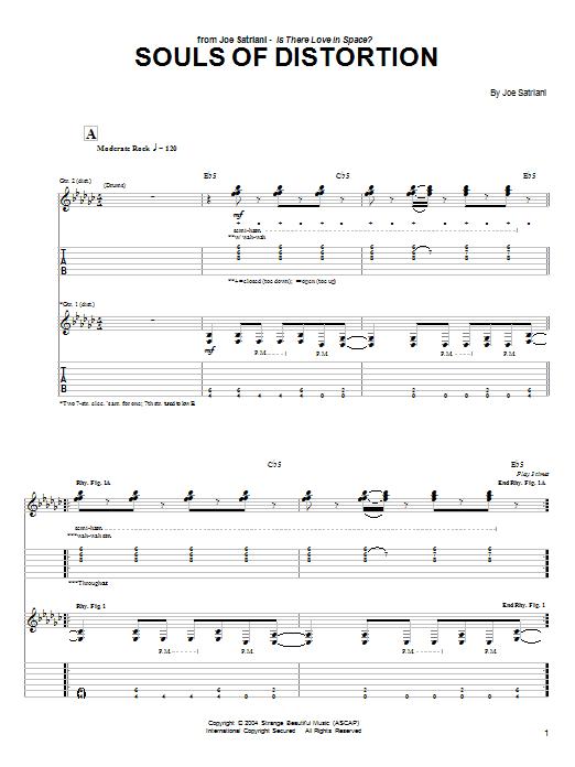 Tablature guitare Souls Of Distortion de Joe Satriani - Tablature Guitare