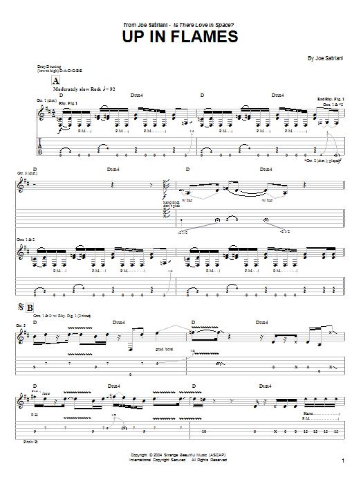Tablature guitare Up In Flames de Joe Satriani - Tablature Guitare