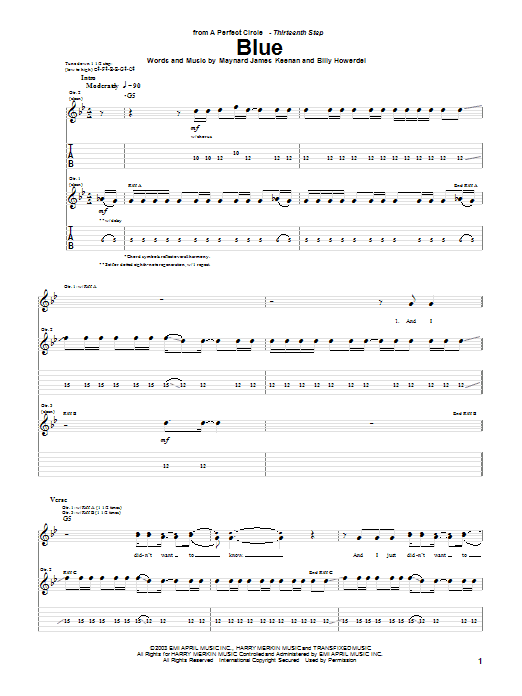 Blue sheet music for guitar solo (tablature) by Maynard James Keenan
