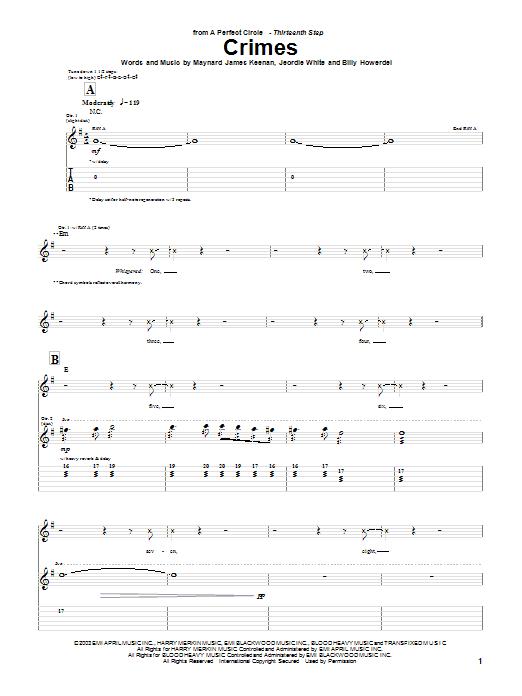 Tablature guitare Crimes de A Perfect Circle - Tablature Guitare