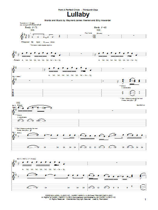 Tablature guitare Lullaby de A Perfect Circle - Tablature Guitare