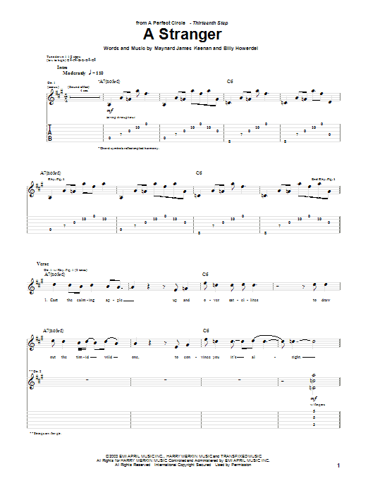 Tablature guitare A Stranger de A Perfect Circle - Tablature Guitare