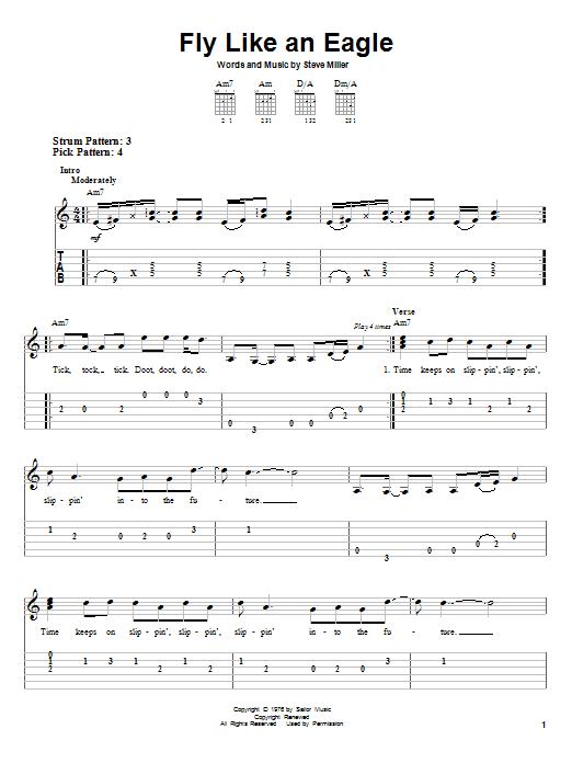 Tablature guitare Fly Like An Eagle de Steve Miller Band - Tablature guitare facile