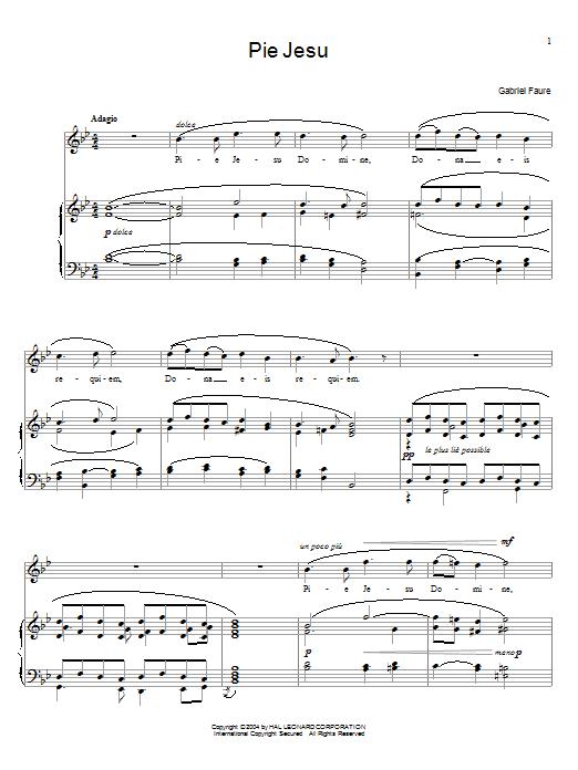 Partition piano Pie Jesu (from Requiem, Op.48) de Gabriel Faure - Piano Voix Guitare (Mélodie Main Droite)