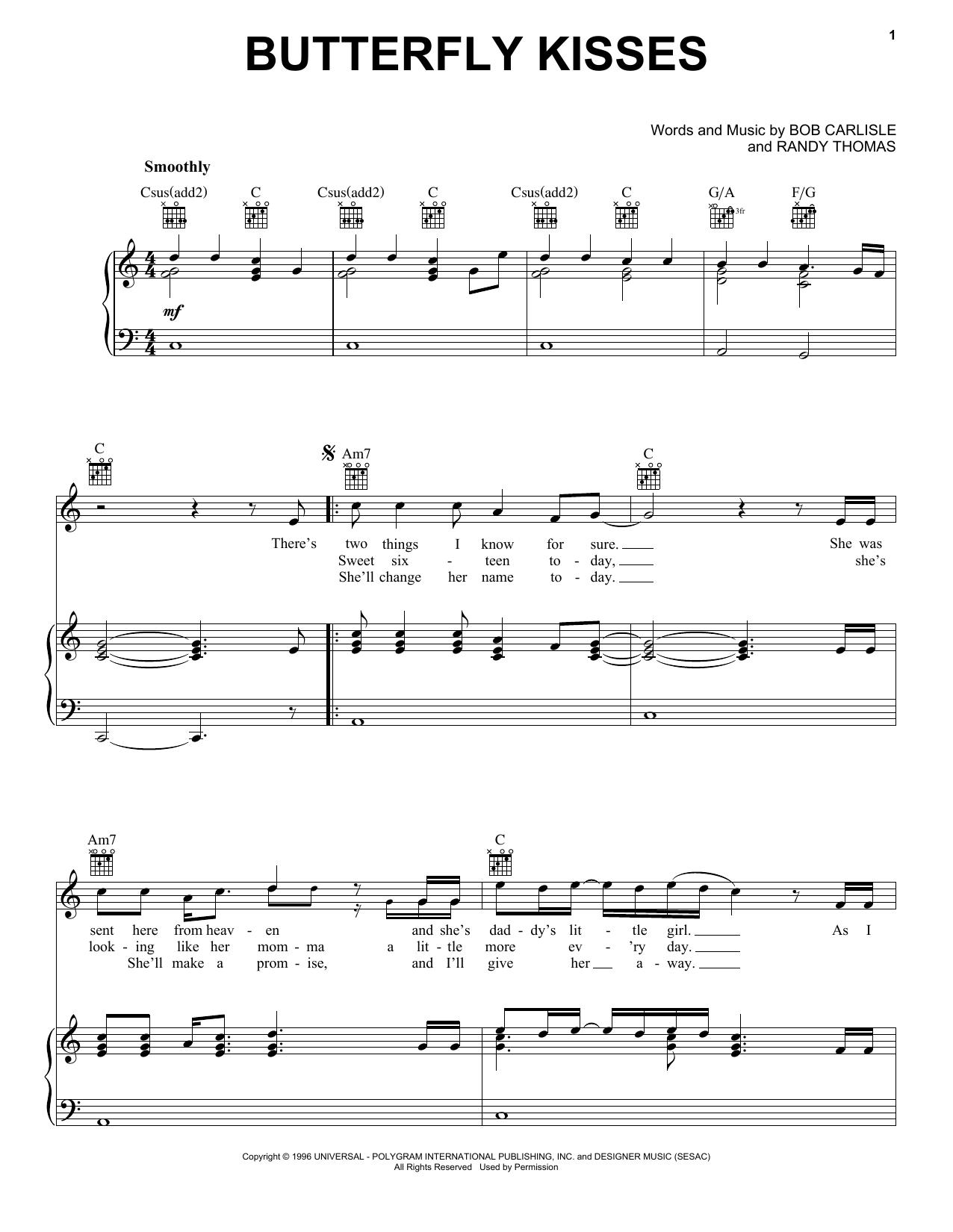 Butterfly Kisses sheet music for voice, piano or guitar by Randy Thomas