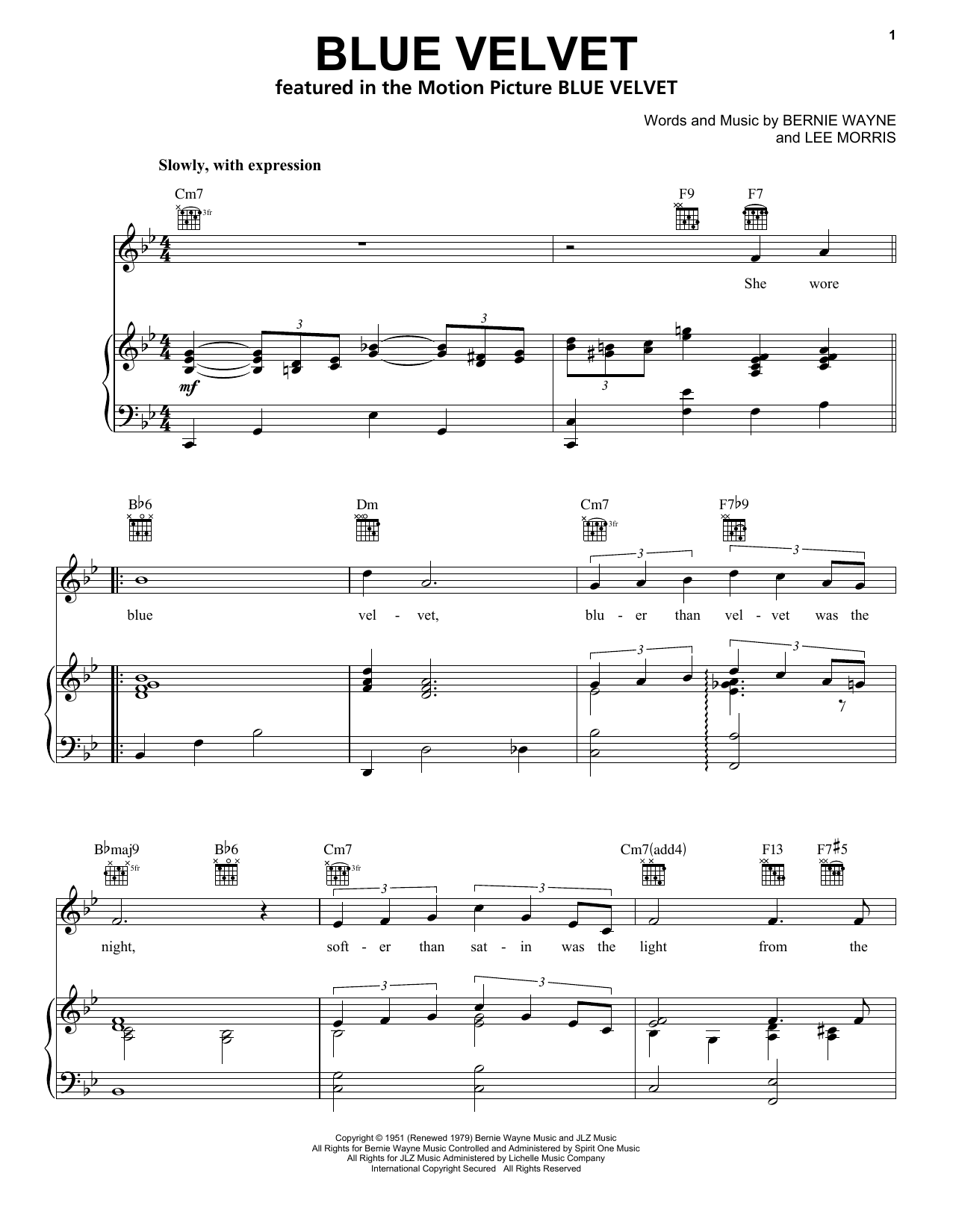 Blue Velvet sheet music for voice, piano or guitar by Lee Morris