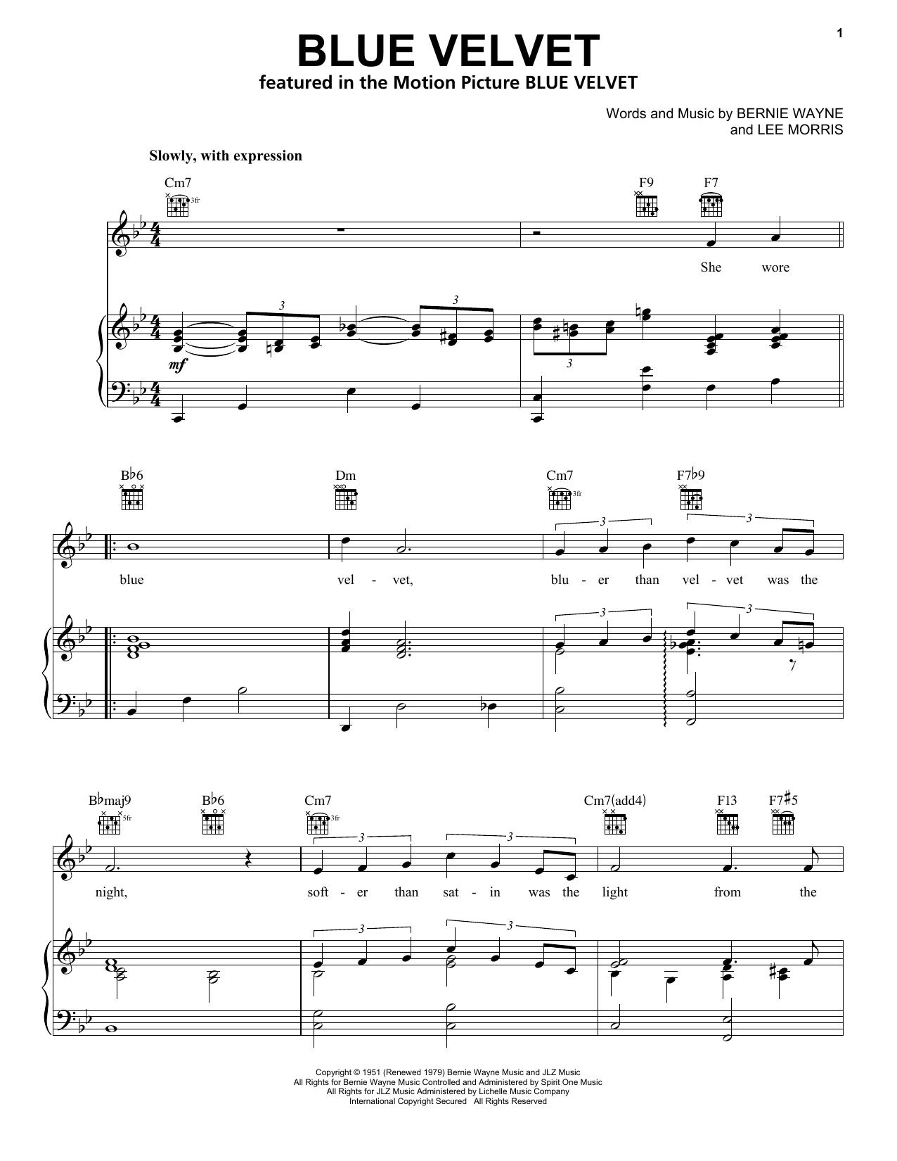 Partition piano Blue Velvet de Bobby Vinton - Piano Voix Guitare (Mélodie Main Droite)