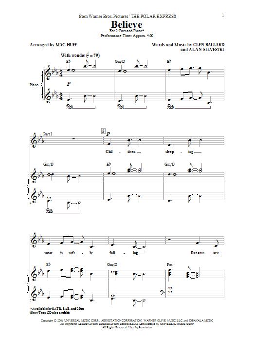 Partition autre Believe de Josh Groban - 2 voix