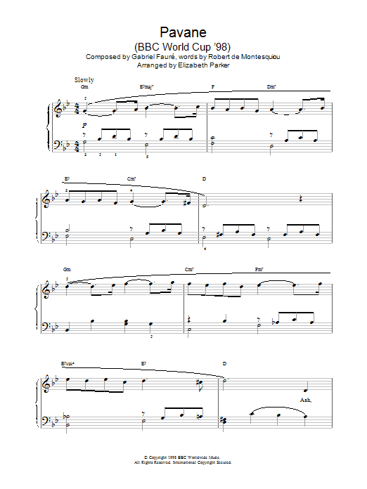 gabriel faure pavane bladmuziek