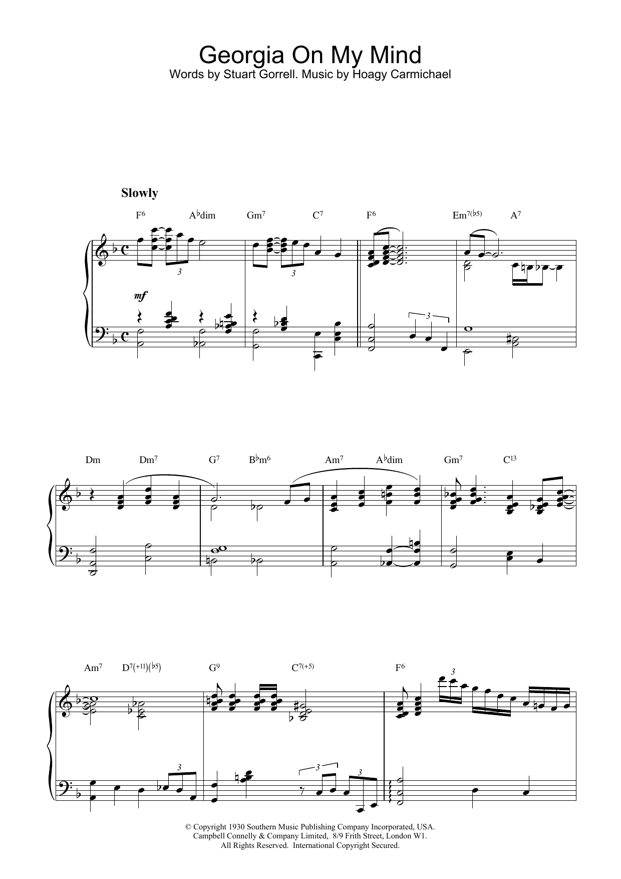 Georgia On My Mind sheet music for piano solo by Stuart Gorrell